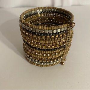 Jewelry - Boho Multi-Stranded Bead & Metal Cuff Bracelet